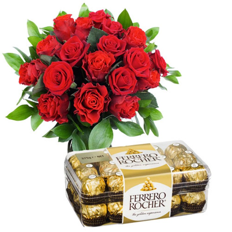 16 Pcs Ferrero Rocher  with Red Roses Bunch