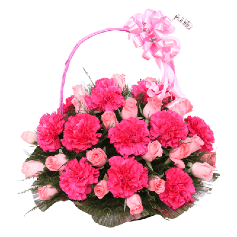 Exotic arrangement of pink roses and Carnations