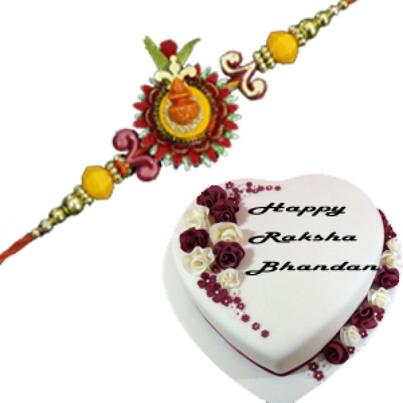 Silk rakhi thread with Heart Shaped Cake