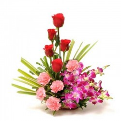 Exotic Pink Carnations & Orchids arrangement