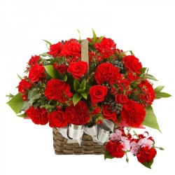 Beautiful Rose & carnations Basket
